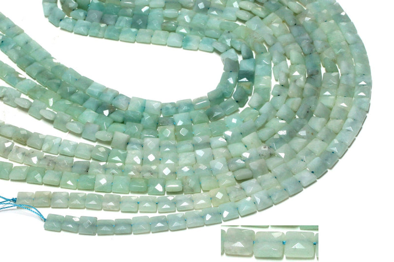 Faceted Square Natural Amazonite Jewelry Making Gemstone Beads 16