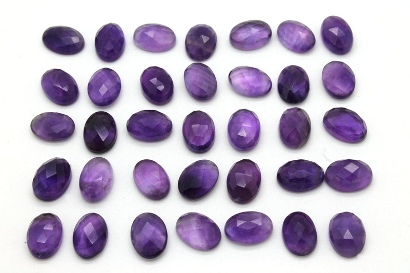 Natural Oval Amethyst Cabochon Gemstone Loose Purple Flat Back Gem Faceted Stone