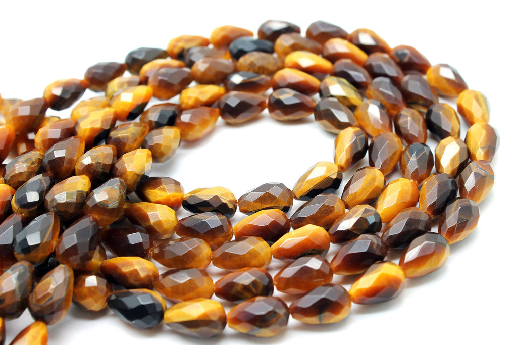 Natural Teardrop Tiger Eye Beads Faceted Loose Spacer Gemstone Jewelry Supply