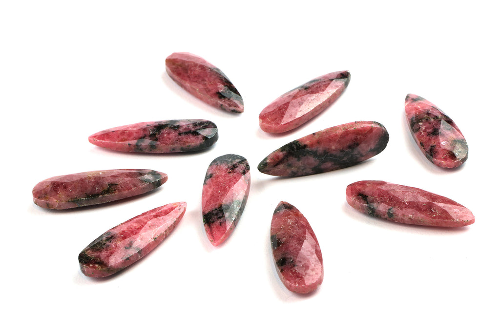 Briolette Rhodonite Gemstone Faceted Loose Long Gem DIY Jewelry Supply Wholesale