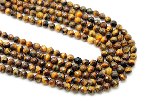 Natural 4mm Tiger Eye Beads Faceted Loose Spacer Gemstone Jewelry Beading Supply