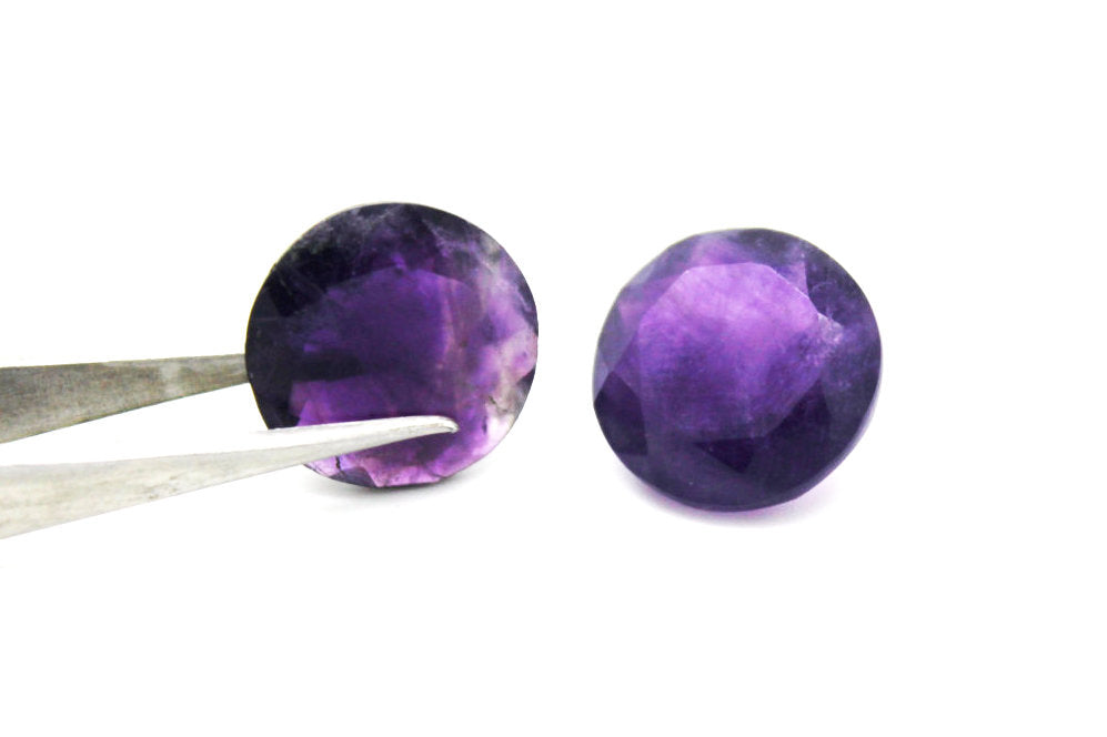 Loose Amethyst Natural Stone Purple Birthstone Cut Shape Round Wholesale Gem