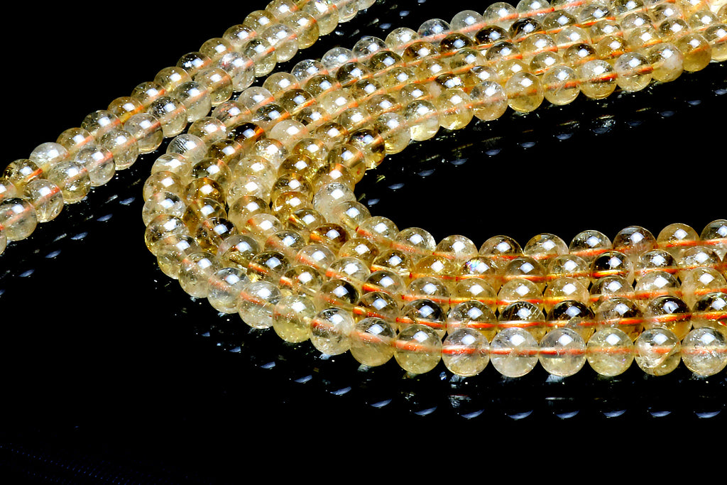 Citrine Beads Round Smooth Yellow Gemstone November Birthstone Jewelry Wholesale