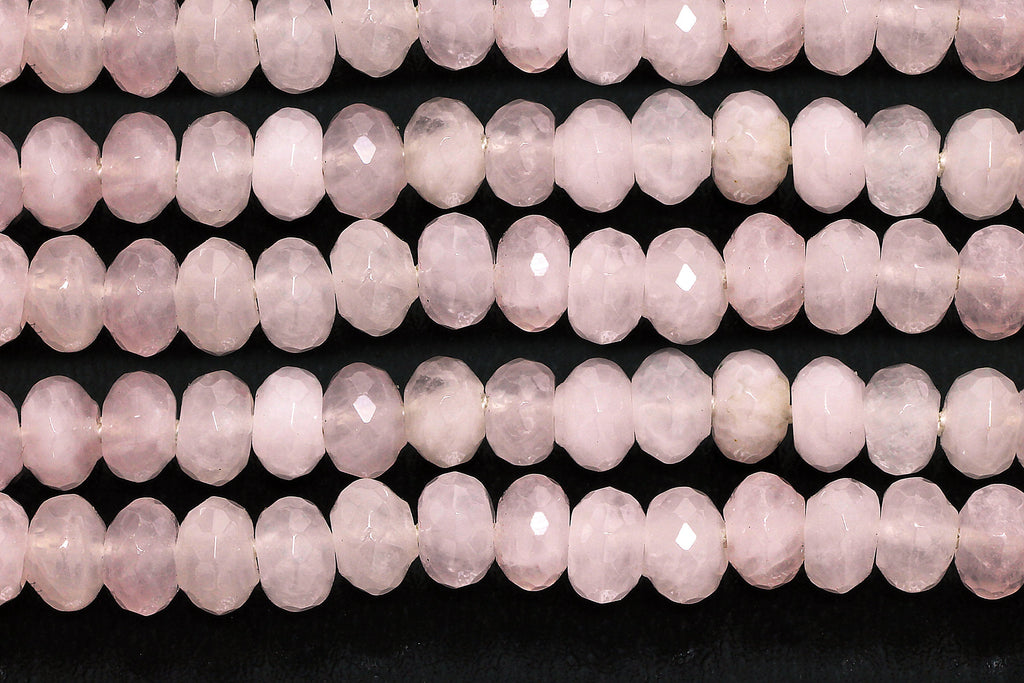 Natural Rose Quartz Beads Gemstone Faceted Rondelle Jewelry Making Gem Wholesale
