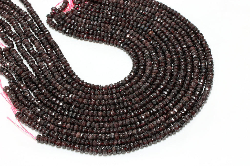 Rondelle Garnet Gemstone Beads Natural Faceted Semiprecious Loose DIY Jewelry