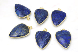Lapis Lazuli Bezel Pendant Faceted Teardrop Gemstone Jewelry Finding Materials