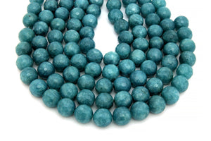 10mm Aqua Quartz Beads Loose Round Faceted Opaque Gemstone Jewelry Making Supply