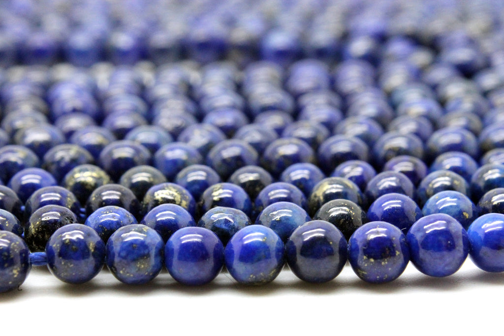 "10mm Round Natural AA Lapis Lazuli Smooth Loose Blue Gemstone Beads 16"" Strand"