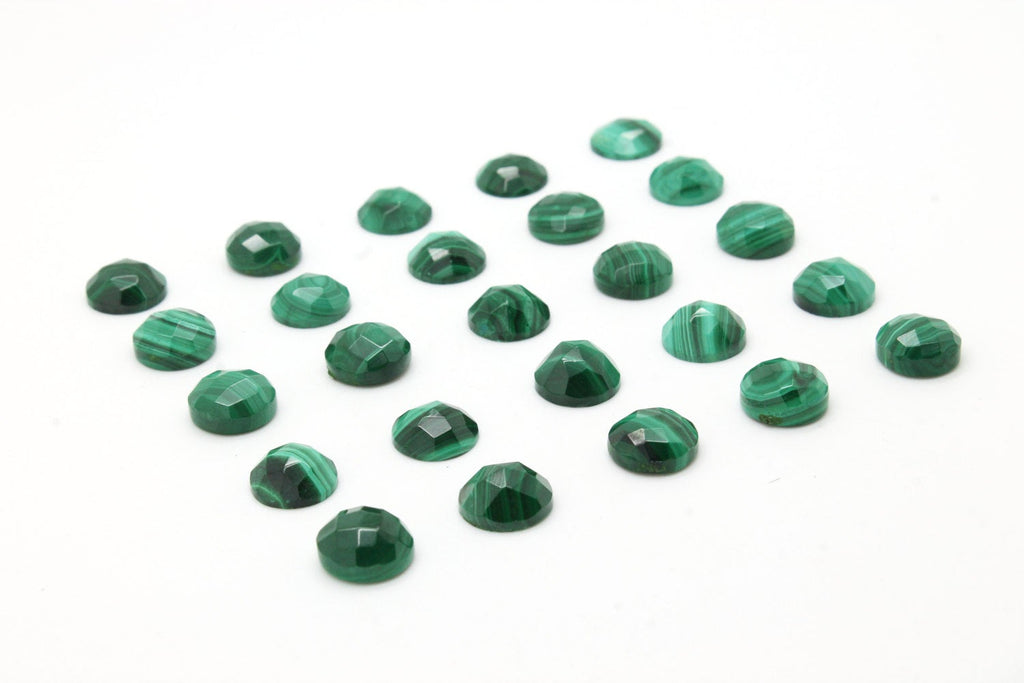 Round Natural Malachite Checker Cut Faceted Cabochon Gemstone Jewelry Bulk Stone