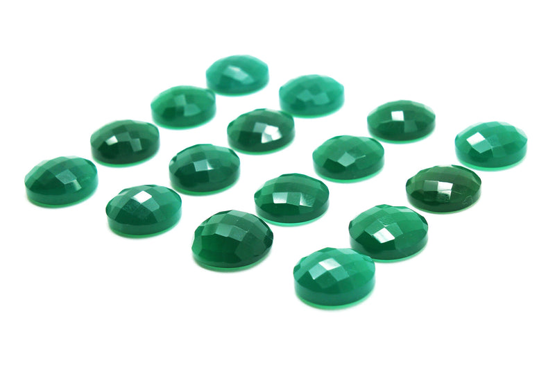Round 10mm Green Onyx Gemstone Natural Faceted Cabochon Jewelry Making Wholesale