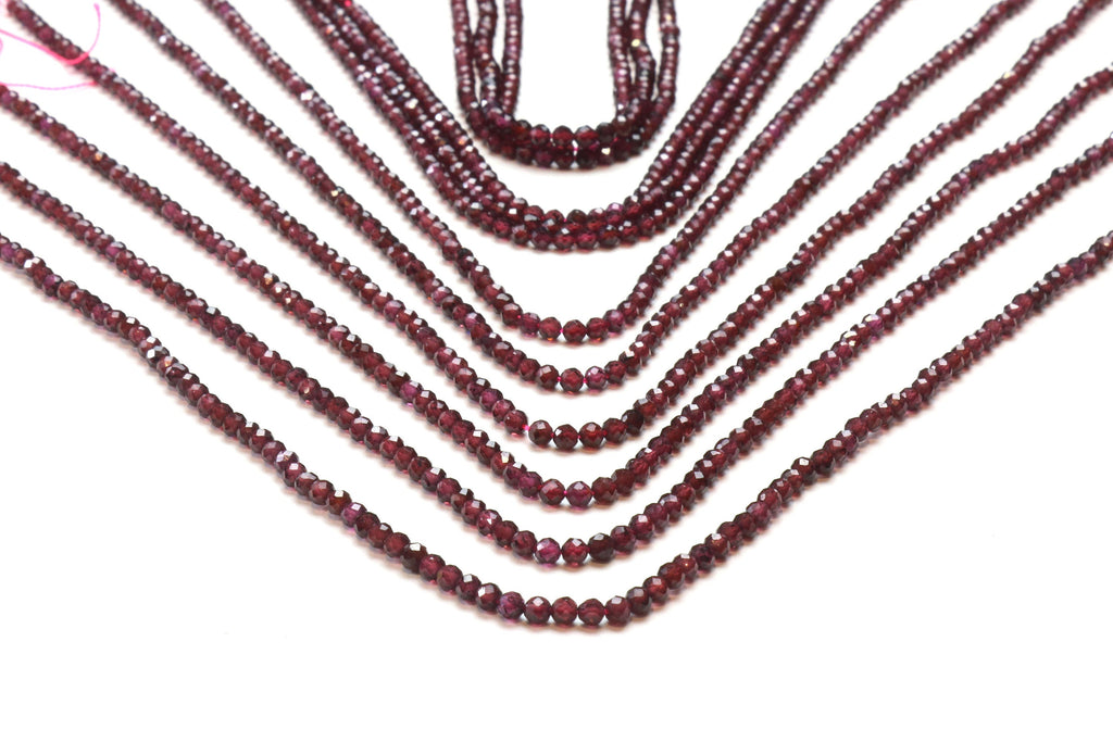 3mm Round Garnet Beads Faceted Loose Gemstones January Birthstone Jewelry Supply