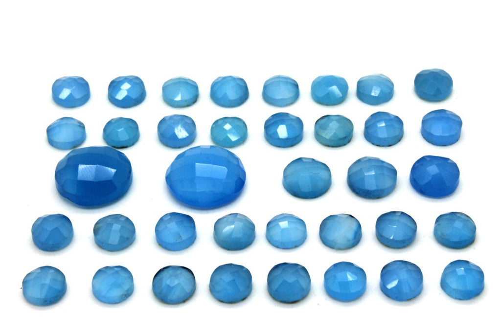 Round Blue Chalcedony Gemstone Loose Faceted Cabochon Jewelry Making Wholesale
