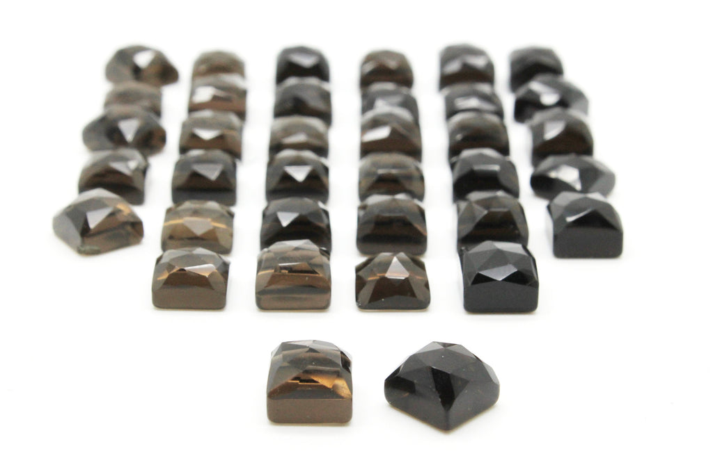 Grade AA Natural Smoky Quartz Faceted Cabochon Gemstone Square Cut Wholesale DIY