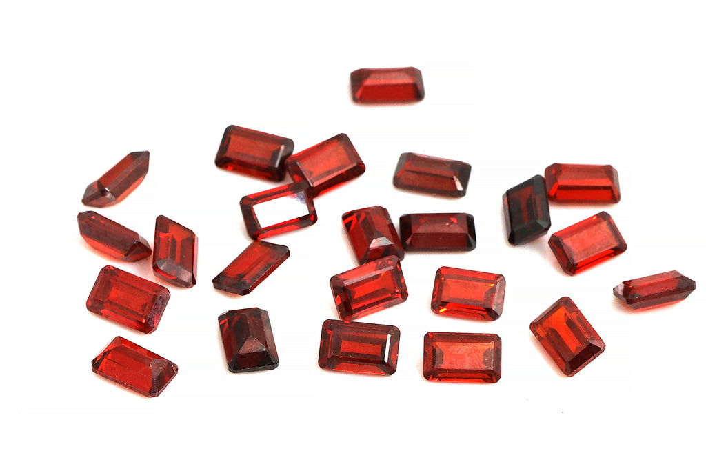 Garnet Gemstone 7x11mm Rectangle Loose Faceted Emerald Cut AA Quality DIY Supply