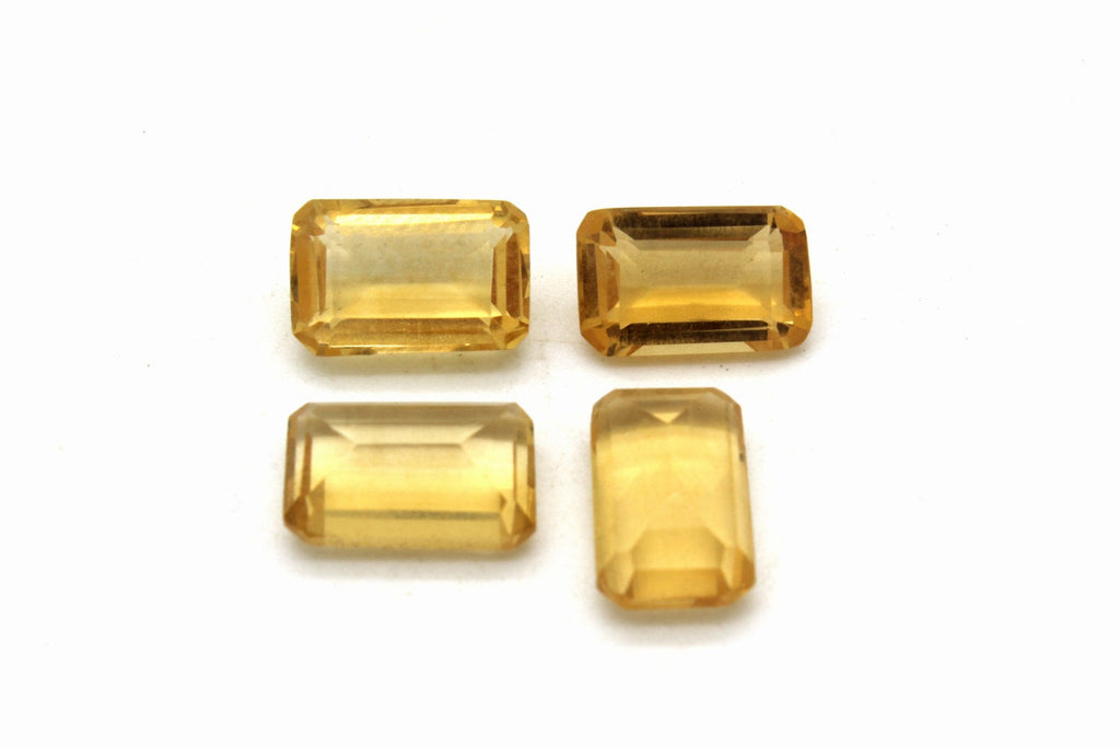 Citrine Faceted Heated Natural Gemstone Loose Emerald Cut Yellow Rectangle Gem