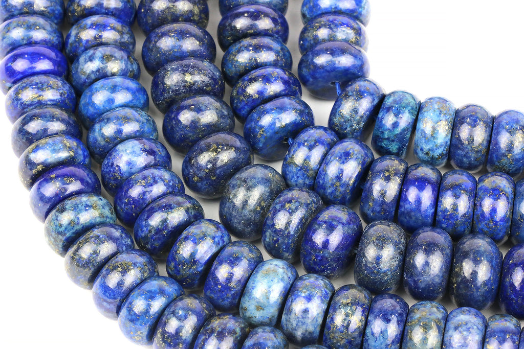 Natural Lapis Lazuli Beads Large Rondelle Loose Gemstone Jewelry Making Supplies