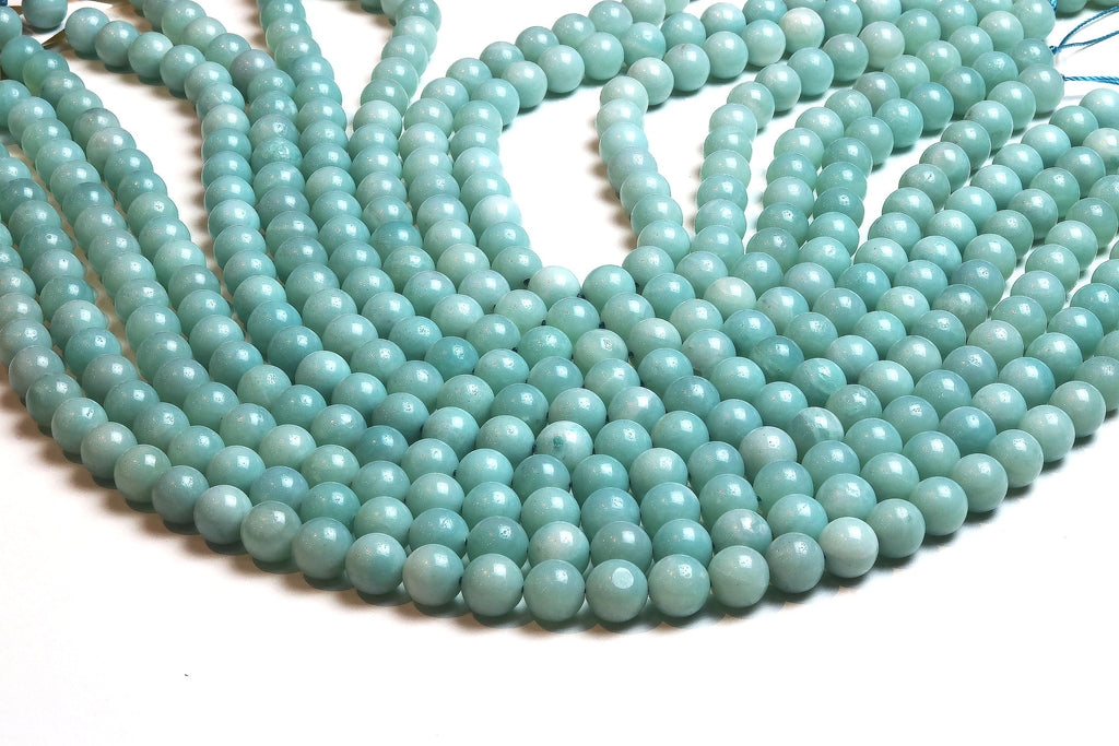 10mm Natural Round Amazonite Beads Smooth Loose Gemstone Jewelry Making Supply