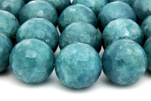 8mm Faceted Aqua Quartz Beads Semiprecious Loose Round Gemstone Jewelry Supply