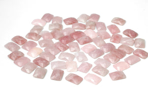 Rose Quartz Cabochon Natural Gemstone Loose Rectangle AA Crystal Jewelry Making