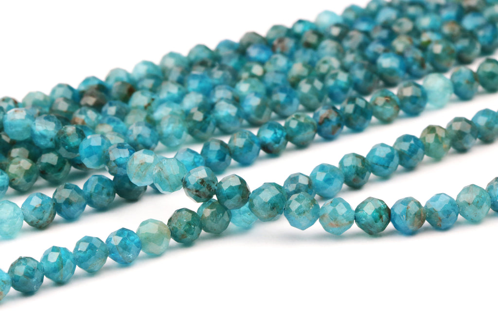3mm Apatite Round Loose Faceted Beads Gemstone Wholesale Jewelry Making Supplies