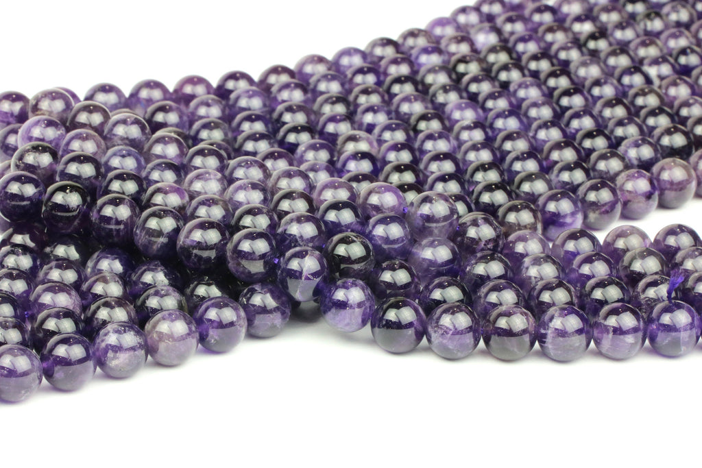 6mm Amethyst Beads Purple Smooth Round Gemstone February Birth Stone Natural Gem