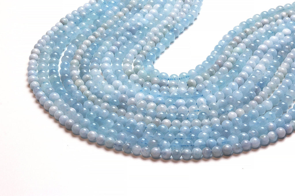 Round Natural Aquamarine Beads Smooth 6mm Loose Gemstone DIY Jewelry Supplies