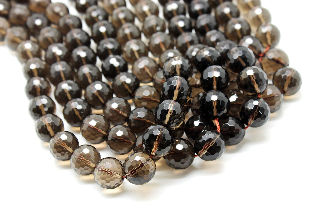 Smoky Quartz Natural Faceted Loose Round Custom Brown Gemstone Beads DIY Jewelry