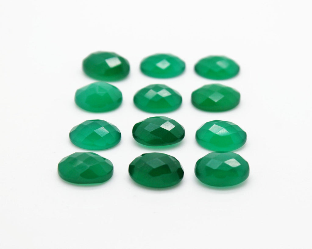 Green Onyx Oval Gemstone Faceted Loose Cabochon Wholesale DIY Jewelry Supplies