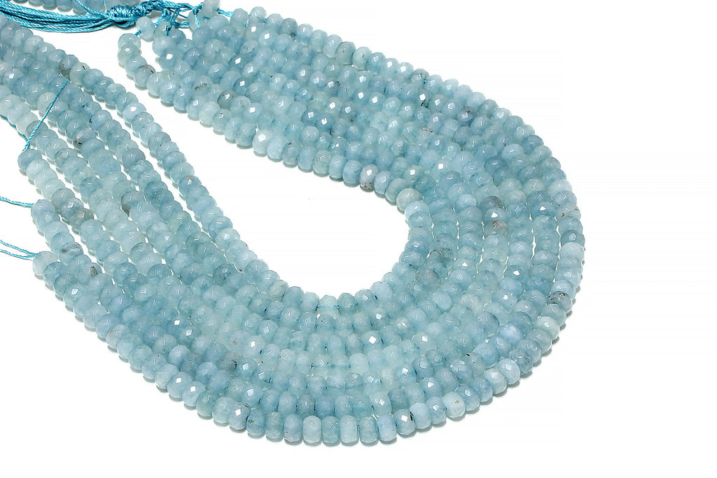 Natural Aquamarine Rondelle Beads Faceted 5x8mm Loose Gemstone March Birthstone