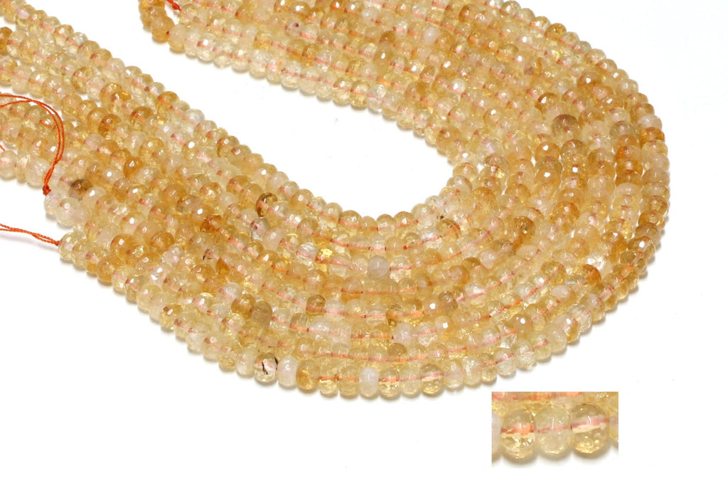 Citrine Natural Gemstone Faceted Loose Beads Cut AA Yellow Rondelle Wholesale