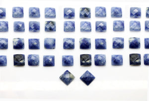 Natural Square Sodalite Gemstone Faceted Cabochon Calibrated AA Quality DIY Gem