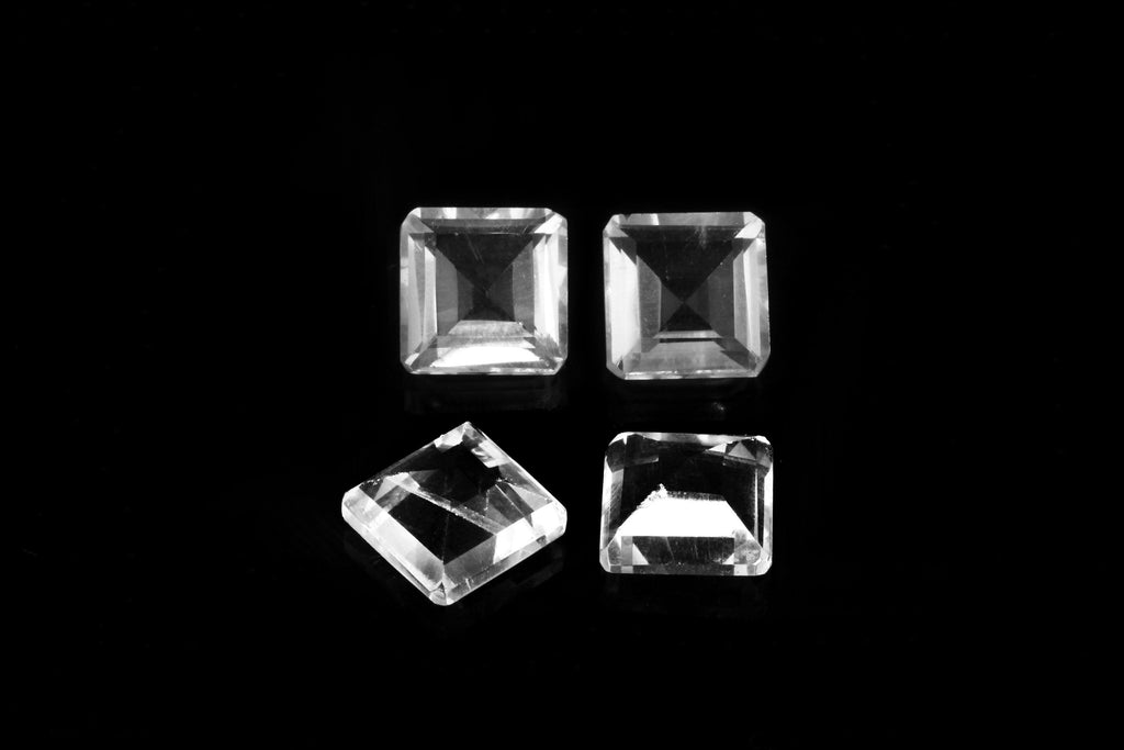 Crystal Quartz Square Natural Faceted Loose Gemstone Clear DIY Jewelry Wholesale