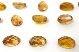 Semiprecious Natural Citrine Oval Faceted Cabochon Gemstone November Birth Stone