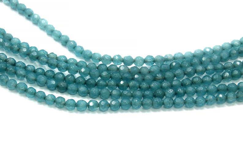 4mm Aqua Quartz Beads Loose Faceted Round Wholesale Gemstone DIY Jewelry Supply