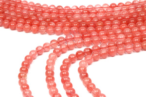 Cherry Quartz Gemstone Beads Natural Smooth Round Crystal Wholesale DIY Jewelry