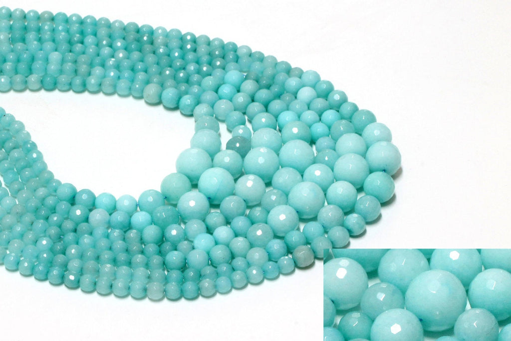 Amazonite Gemstone Jewelry Beads Graduated Faceted Mixed Round Natural Loose Gem