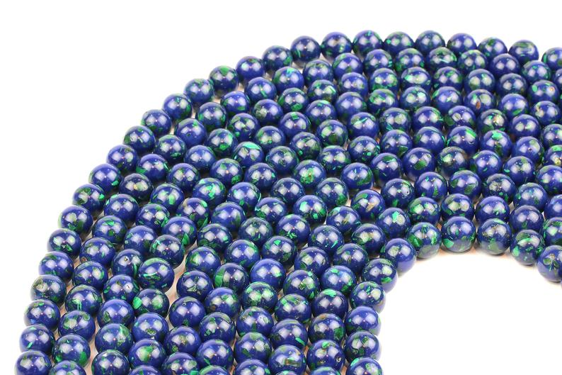 Natural Lapis Malachite Beads Round Smooth Loose Spacer Gemstone Jewelry Making