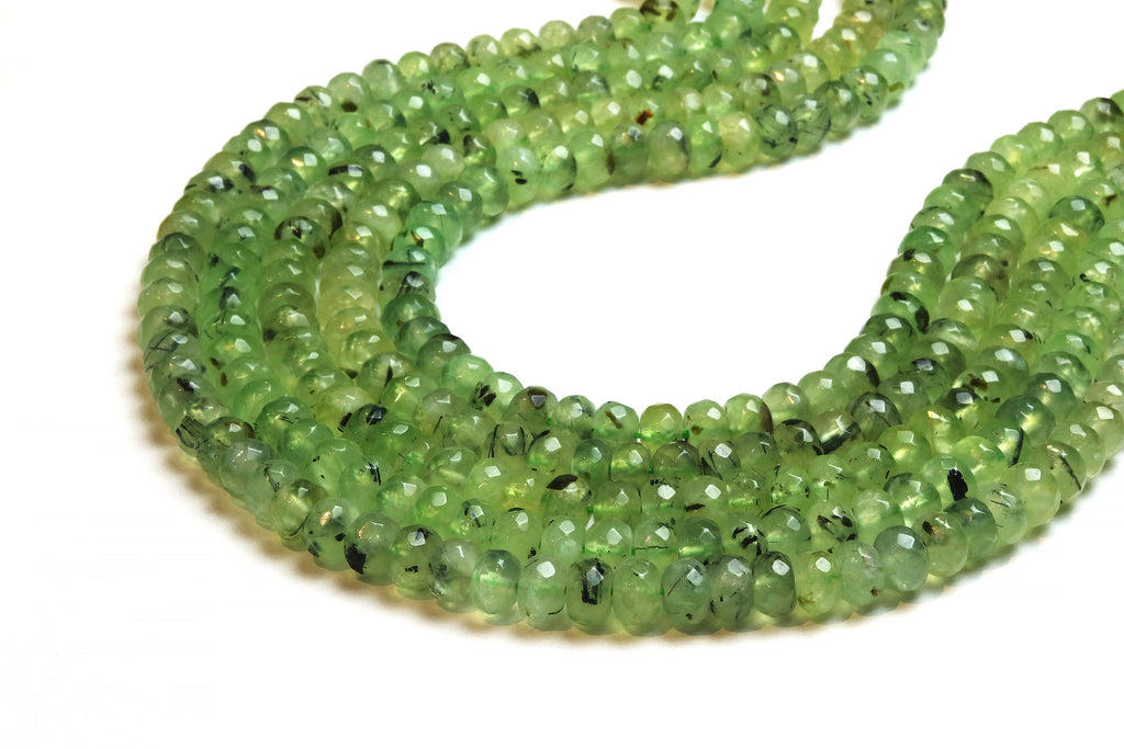 4x6mm Prehnite Rondelle Beads Semiprecious Loose Faceted Gemstone Jewelry Supply