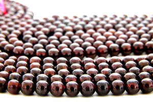 "Round Garnet Gemstone Beads Smooth Natural 16"" Strand Jewelry Making Supplies"