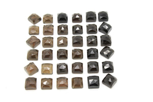 Natural Smoky Quartz Square Custom Cut Faceted Cabochon Bulk Gemstone Flat Back