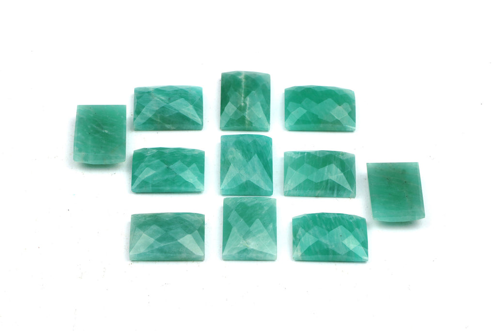 Natural Amazonite Gemstone Loose Rectangle Faceted Cabochon DIY Jewelry Supply