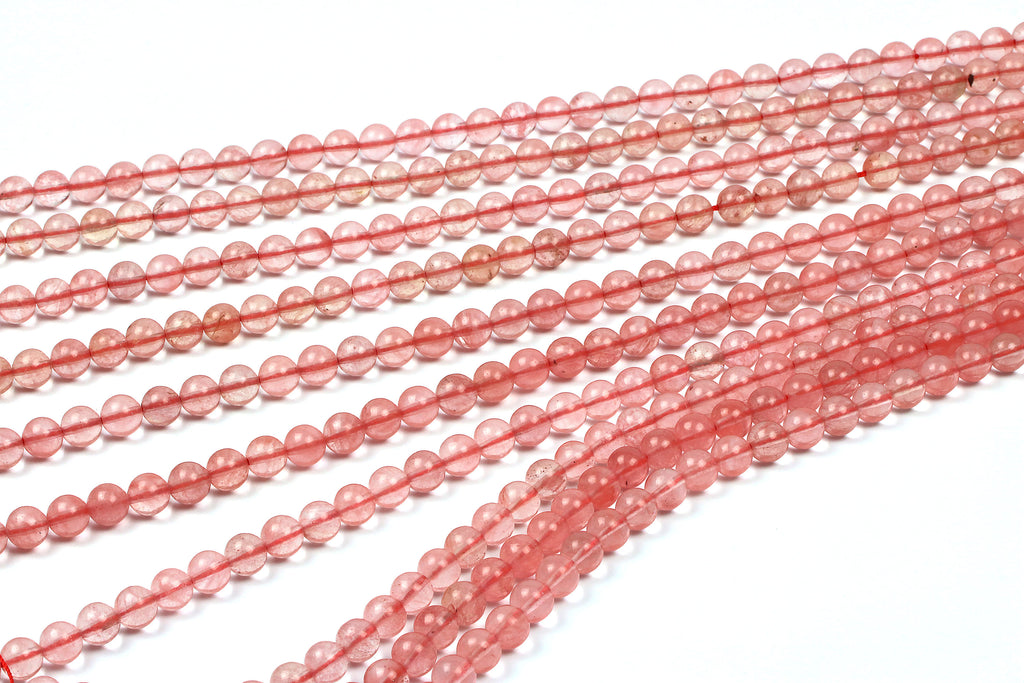 Natural Cherry Quartz Gemstone Beads Round Loose DIY Jewelry 4mm 6mm 8mm 10mm