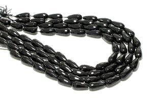 Natural Black Onyx Long Teardrop Beads Wholesale Jewelry Making Faceted Gemstone