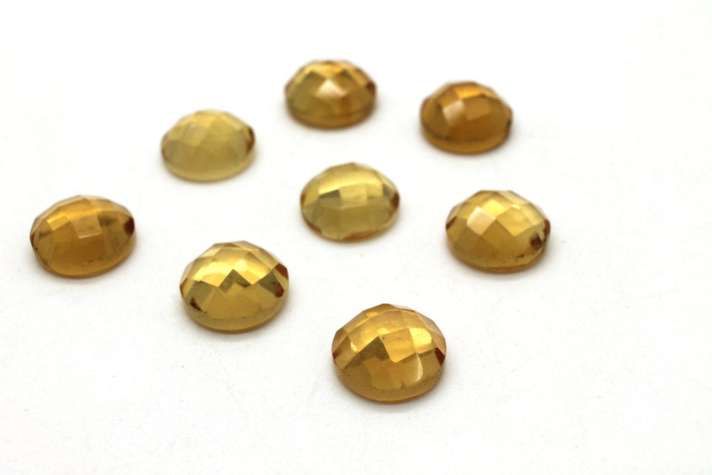 Citrine Round Cabochon Gemstone 10mm Faceted Quartz Natural Crystal Wholesale