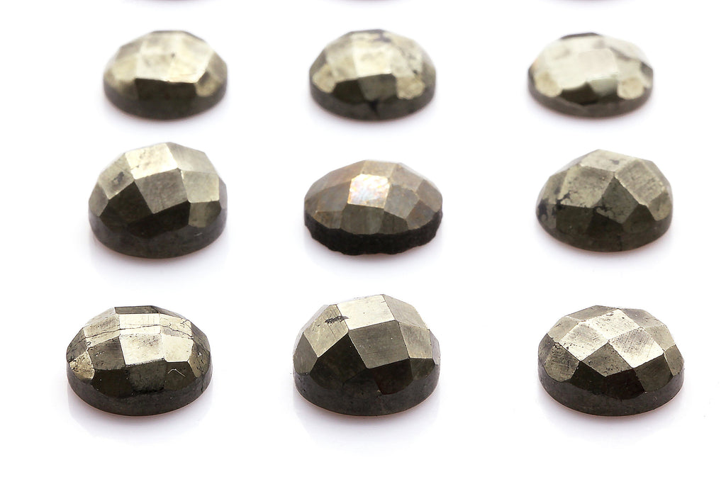 Natural Pyrite Gemstone Round Faceted Cabochon DIY Jewelry 4mm 6mm 8mm 10mm 16mm