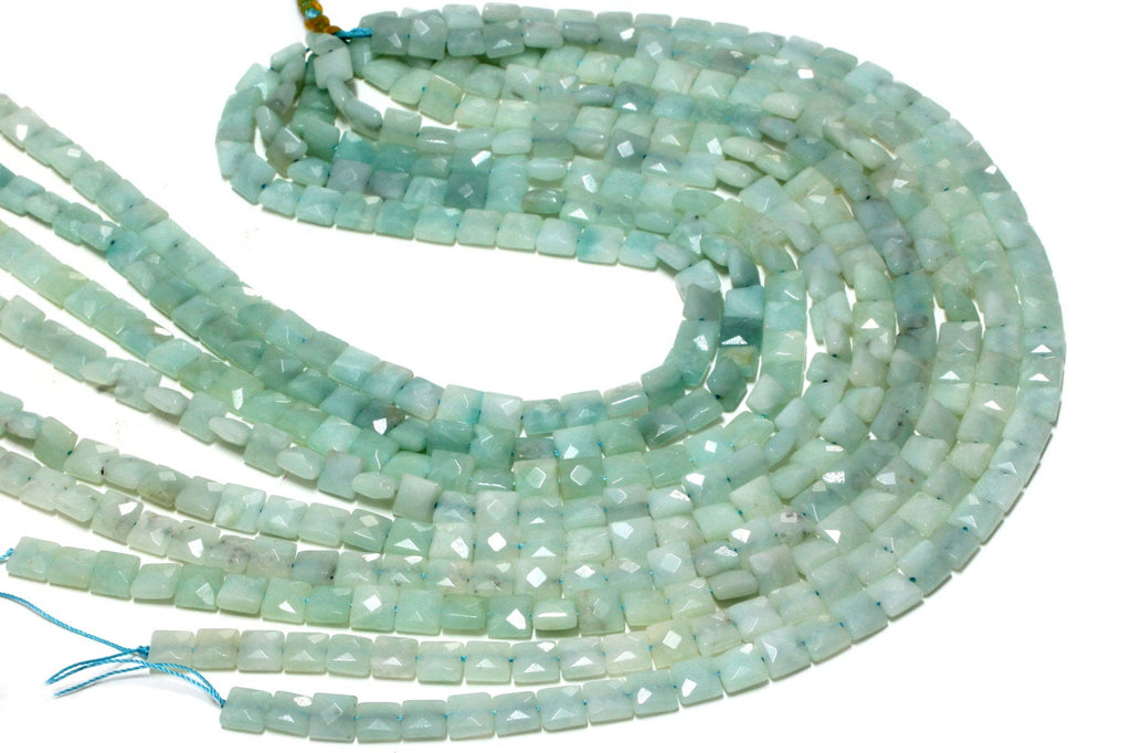 "Faceted Square Natural Amazonite Jewelry Making Gemstone Beads 16"" Loose Strand"