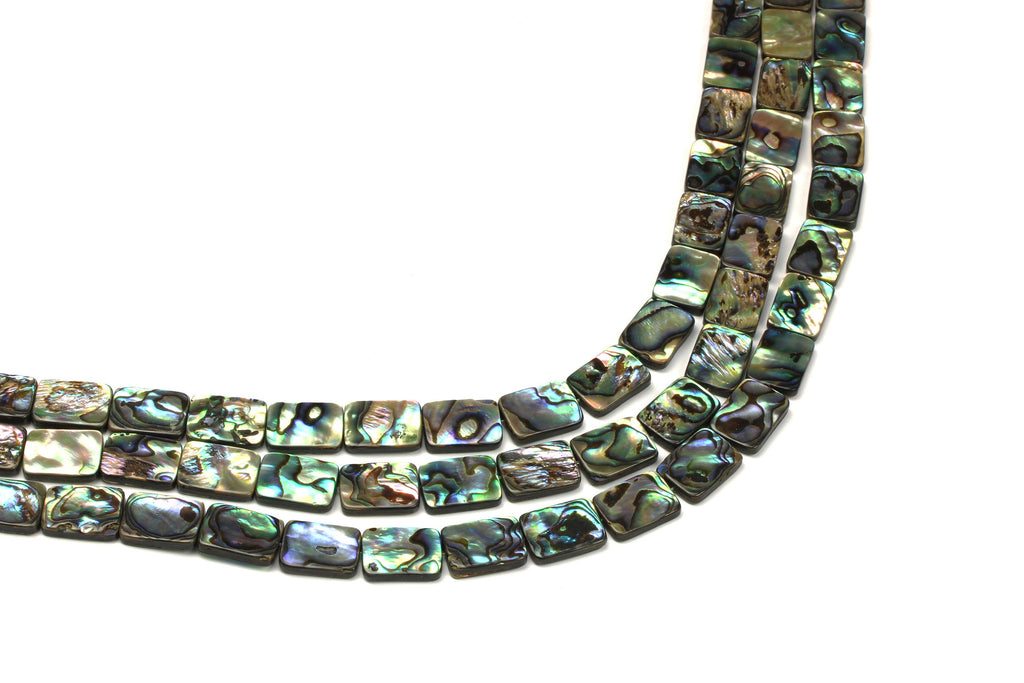 Natural Abalone Shell Loose Spacer Small Rectangle Gemstone Beads DIY Beadworks