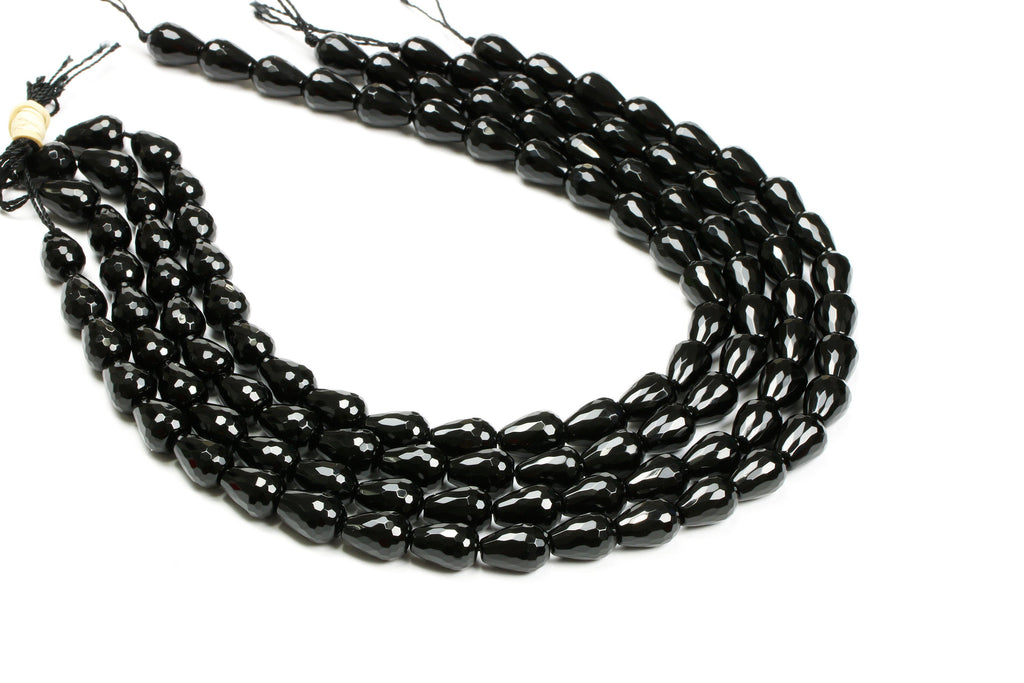 Long Black Onyx Faceted Drops Loose DIY Jewelry Beads Natural Teardrop Gemstone