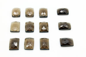 Smoky Quartz Rectangle Large Natural Loose Faceted Cabochon Gemstone Wholesale