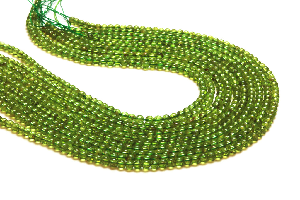 Round Peridot Beads Natural Loose Smooth Gemstone August Birthstone DIY Jewelry